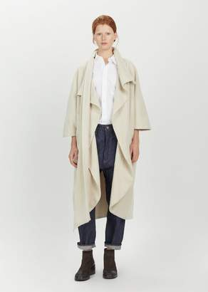 Black Crane Wool Cape Coat Cream