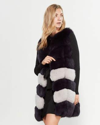 Intuition Paris Striped Real Fur Longline Vest