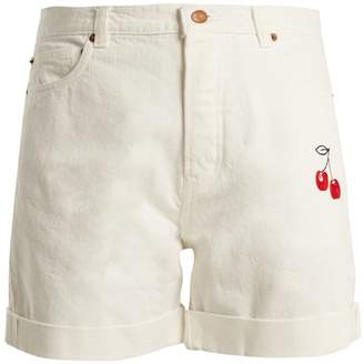 BLISS AND MISCHIEF Cherry-embroidered high-rise denim shorts