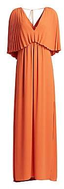 Halston Women's Pleated Overlay Tie-Back Georgette Gown - Size 0