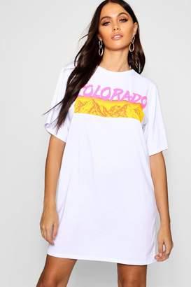 boohoo Colorado Graphic Oversized T-Shirt Dress