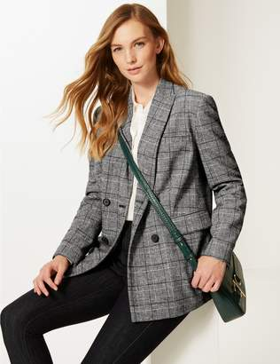 Marks and Spencer Checked Long Sleeve Blazer