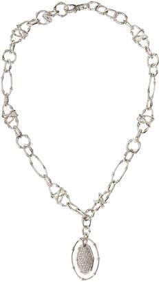 John Hardy Bamboo Pave Diamond Oval Pendant Necklace