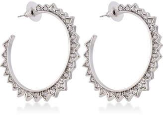 GUESS Silver-Tone Crystal Spike Hoop Earrings
