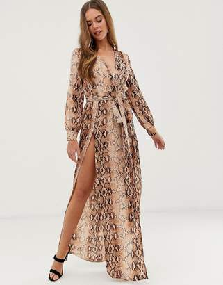 d924fd9300 In The Style Billie Faiers snake wrap maxi dress with side splits