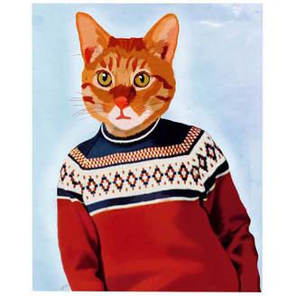 Asstd National Brand Cat in Ski Sweater Canvas Wall Art