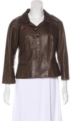 Prada Leather Notch-Lapel Jacket