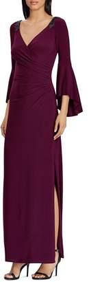 Ralph Lauren Bell-Sleeve Jersey Gown