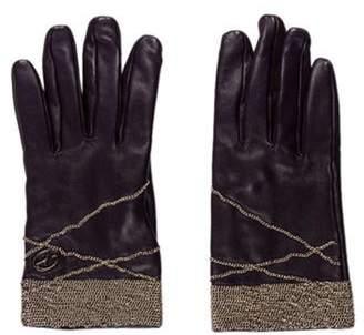 Francesco Biasia Embellished Leather Gloves Purple Embellished Leather Gloves