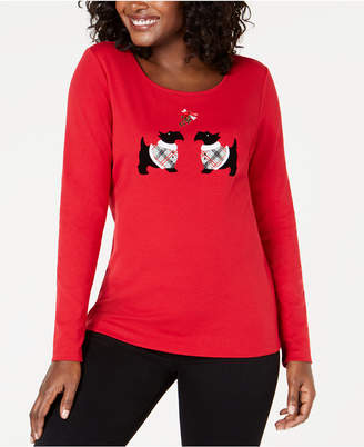 Karen Scott Scottie-Dog Mistletoe Top, Created for Macy's