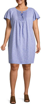 ST. JOHN'S BAY Short Sleeve Embroidered Stripe Shift Dress - Plus