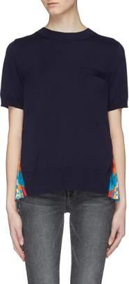 Sacai x Pendleton graphic print pleated back short sleeve sweater