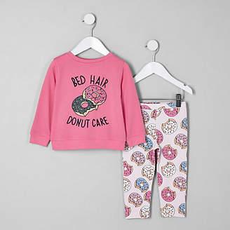 River Island Mini girls Pink 'Bed hair' pyjama set