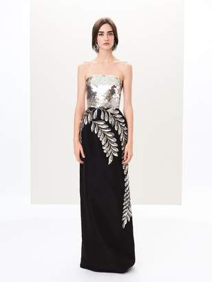 Oscar de la Renta Fern Embroidered Silk-Faille Column Gown