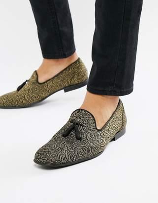 Asos Design DESIGN loafers in black and gold rose design