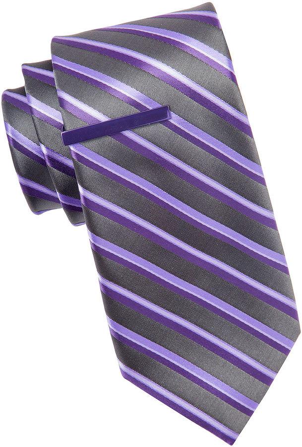 Jf J.Ferrar JF Celebration Stripe Tie and Tie Bar Set