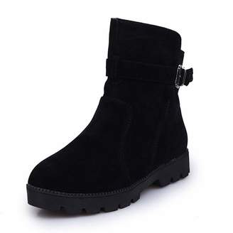 5c06025d8e9 SENERY Women Winter Ankle Boots Warm Lace Up Fur Buckle Round Toe Slip On  Square Heel