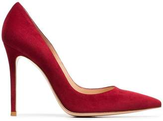 Gianvito Rossi red 105 suede pumps