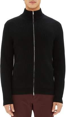 Theory Rovira Ribbed Merino Wool Zip-Front Cardigan