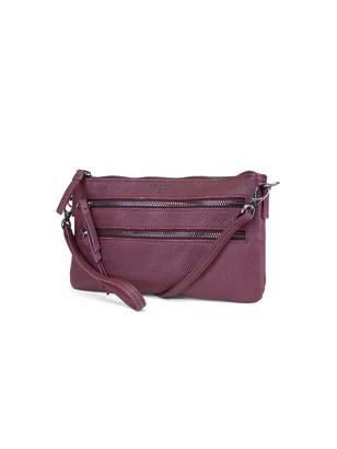 T Tahari Zipper Wos in Aubergine Crossbody Bag