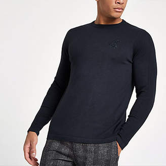 River Island Navy 'R96' slim fit crew neck sweater