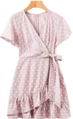 Goodnight Macaroon 'Karter' Wrap Tied Polka Dot Peplum Dress (2 Colors)