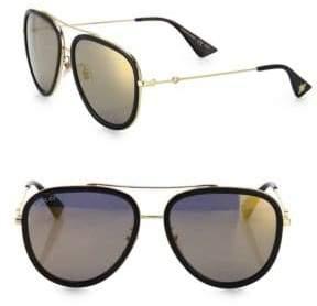 Gucci Men's 57MM Pilot Sunglasses - Gold