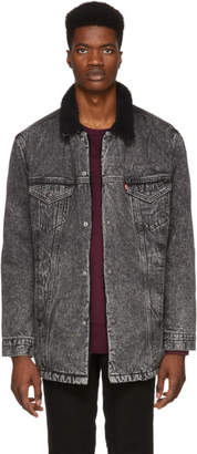 Levi's Levis Grey Denim Long Sherpa Jacket
