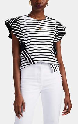 Derek Lam 10 Crosby Women's Ruffle-Trimmed Striped Stretch-Cotton T-Shirt - White