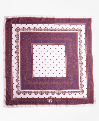 Brooks Brothers Ribbon-Print Silk Square Scarf