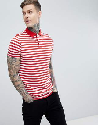 Asos Design Stripe Polo In Red