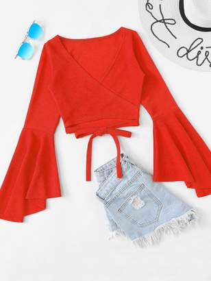 Shein Tie Front Flounce Sleeve Wrap Top