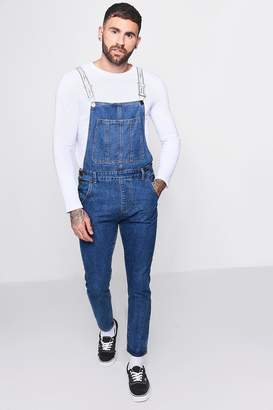 boohoo Skinny Fit Dungarees With MAN Tape Straps