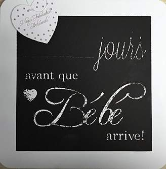 "Q.U.E Sifcon Pregnancy Countdown ""Days Until Our Baby Is Here"" in French (jours avant Bebe arrive!) Wooden Chalkboard Plaque"