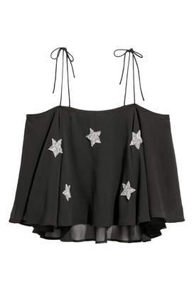 H&M Beaded Tank Top - Black/stars - Women