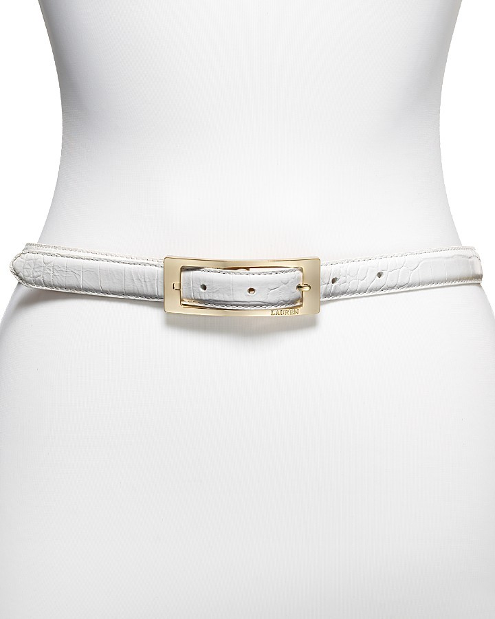 Lauren by Ralph Lauren Italian Croco-Embossed Leather Belt, 0.75
