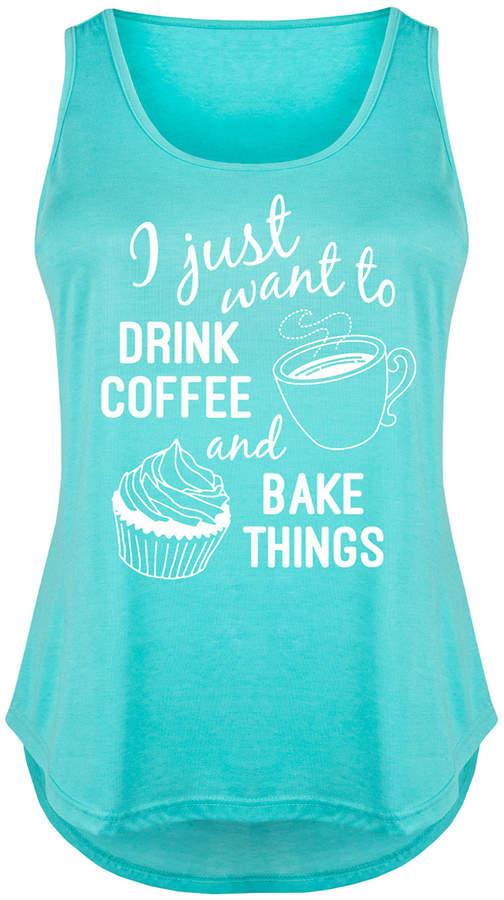 Tahiti Blue 'Drink Coffee Bake Things' Tank - Plus