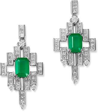 Bloomingdale's Emerald & Diamond Deco Drop Earrings in 14K White Gold - 100% Exclusive