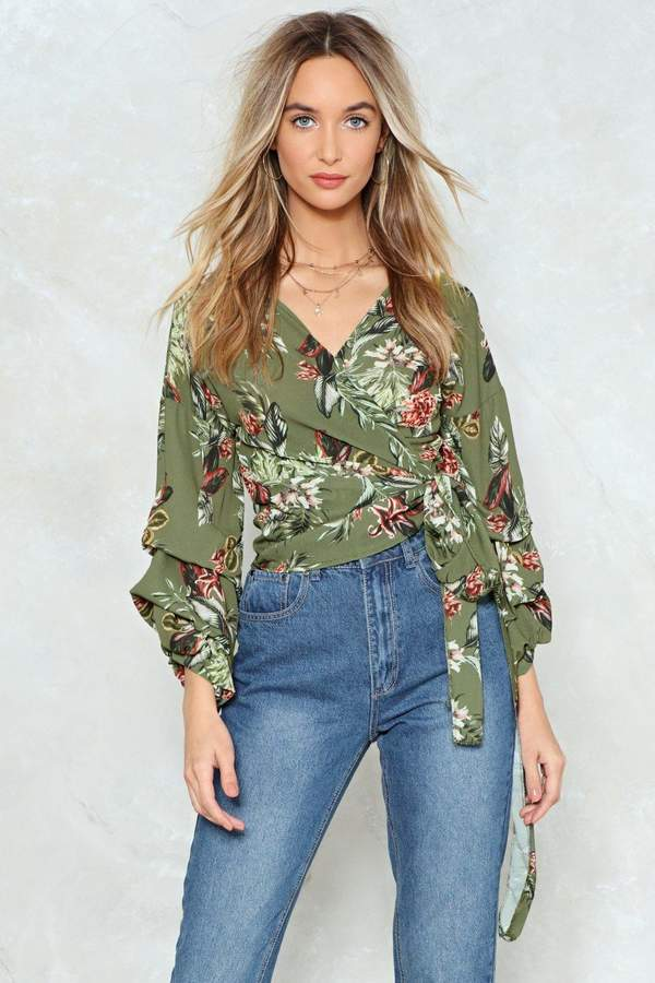 nastygal Do You Take Me for a Wrap Floral Blouse