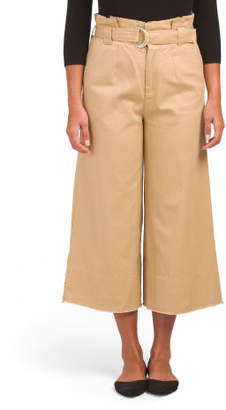 Juniors Belted Wide Leg Ankle Pants