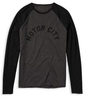 John Varvatos Chain-Stitched Graphic Cotton Sweater