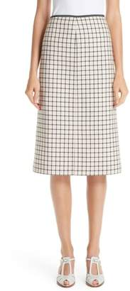 Fendi Check Wool Pencil Skirt