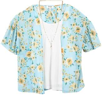 Speechless Girls 7-16 Floral Kimono & Tunic Top Set with Necklace