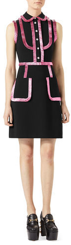 GucciGucci Jersey Shirtdress with Metallic Trim, Black/Pink