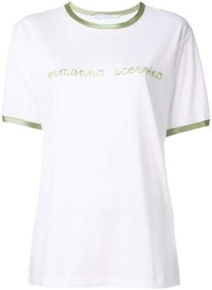 Ermanno Scervino silk trim flocked T-shirt