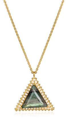 Satya Jewelry Womens Labradorite Gold Triangle Pendant Necklace 18-Inch