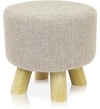 BEIGE DL furniture - Round Ottoman Foot Stool, 4 Leg Stands Round Shape | Linen Fabric, Cover