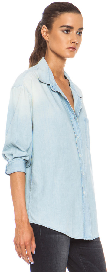 R 13 Oversized Shirt with Cropped Sleeve in Light Blue