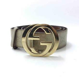 Gucci Interlocking Buckle Beige Leather Belts