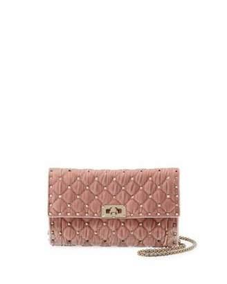 Valentino Rockstud Spike Quilted Velvet Wallet on Chain
